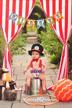 Circus themed first birthday portraits // outdoors, red and white stripes, stuffed lion, ball, hula hoop, stuffed dog, banner // Geneva, IL // by Mandy Ringe Photographer