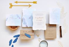 Brianne + Lee's Eclectic Watercolor Feather Wedding Invitations