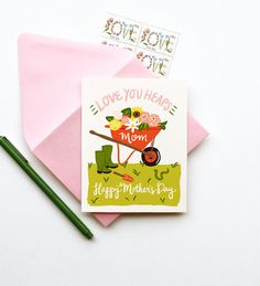 Love You Heaps Mom mothers day card gardener spring by littlelow, $4.50