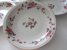 Vintage Empire China Meito Rosella Floral Rimmed by thechinagirl