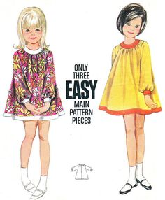 1960s Girls Dress Pattern Butterick 4462 Girls Mod by paneenjerez, $7.00