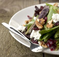 Mixed green salad with goat cheese and walnuts - http://www.amazon.com/Smart-Cooking-Busy-People-ebook/dp/B00CQX26OM/ref=la_B00CR71RSS_1_1?ie=UTF8=1368421900=1-1