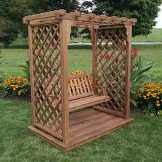 & Garden A & L Furniture Covington 7 ft. High Cedar Arbor with Deck and SwingA & L Furniture Covington 7 ft. High Cedar Arbor with Deck and Swing Pergola Canopy, Metal Pergola, Deck With Pergola, Cheap Pergola, Wooden Pergola, Backyard Pergola, Pergola Shade, Pergola Plans, Pergola Ideas