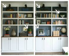 great tips on how to accessorize bookcases.  These are in her dining room.  Also, has the lower cabinets like I'm thinking and a large space for a globe.