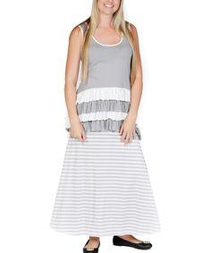 Gray Infinity Ruffle Top & Skirt
