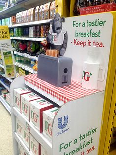POPAI Awards 2017 DRINKS - Gold winner DISPLAY OF THE YEAR TEMPORARY - Gold winner PG Tips Motorised Toaster Display by Stormdfx Ltd for Unilever Judges comment: A clean, crisp and clear design with strong branding and moving parts to disrupt the shopper in-store. Designed to be sited in tea, cereal or bakery areas, the display offers flexibility to the retailer and an emotional connection with shoppers. Simple yet effective!