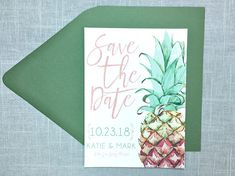 The perfect Save the Date for your tropical wedding! This pineapple design features a green and pink scheme, and pairs beautifully with a pretty green or metallic pink envelope. Wording and font can be customized, and other envelope colors are available---please contact me for options!