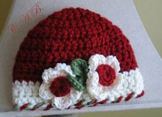 Items similar to Christmas Hat SALE baby crochet ready to ship in one size, special pricing, babies on Etsy Crochet Flower Hat, Crochet Cap, Crochet Bebe, Crochet Gloves, Crochet Baby Hats, Cute Crochet, Crochet For Kids, Crochet Crafts, Yarn Crafts