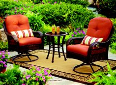 This cheery BHG Azalea Ridge Bistro set with 2 swivel rockers & accent table is perfect for morning coffee or afternoon drinks