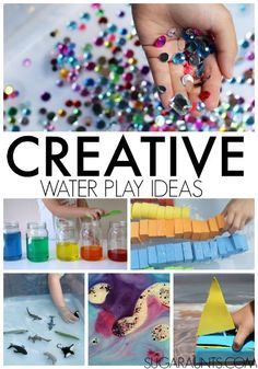 Creative water play ideas for kids, using items from around the home. Great gift idea for kids, nieces, nephews, parents, teachers, therapists.