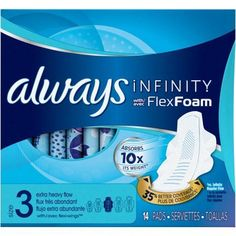 Always Pads Size 3 Infinity With Flex Foam 14 Count X-Heavy Flow Pack) Always Maxi Pads, Always Pads, Feminine Wipes, Feminine Pads, Always Infinity Pads, Always Ultra Thin, Bright Nail Designs, Health Magazine, Say Hello