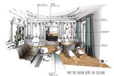 Croquis architecture intérieure-Dominique JEAN pour EDECO Rénovation- Appartement Haussmannien- parquet chêne en chevron-moulures blanches- cuisine noire et blanche