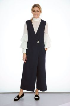 For an appearance with Style Code Live, Olivia layered a top from her own Nordstrom collection with a wide-leg jumpsuit; then slipped into a pair of Tibi x Del Toro loafers.