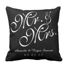 Black & White Mr. and Mrs. Wedding ceremony Pillow.  Discover more at the picture link