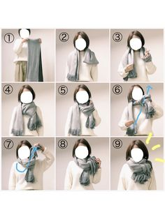 How do I tie a scarf? How do I tie a scarf? How to tie a scarf How to tie a scarf Ways To Tie Scarves, Ways To Wear A Scarf, How To Wear Scarves, Scarf Knots, Diy Scarf, Look Fashion, Fashion Beauty, Womens Fashion, Fashion Tips