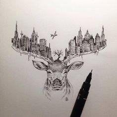 Elk Drawing, Dream Drawing, City Drawing, Pen Drawings, Animal Drawings, Tattoo Drawings, Cool Drawings, Drawing Sketches, Raindeer Drawing