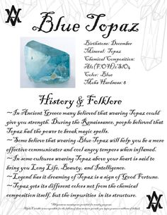 Blue Topaz Meaning, Gemstone History Fact Legend and Folklore Gemstone Jewelry Birthstone Jewelry Crystal Healing #crystalhealing #crystal #gemstone