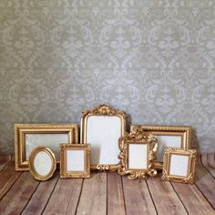 Vintage Style PICTURE FRAMES -Gold Glam - shabby chic wedding - photo display reception signage