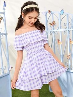 Style: BohoColor: Pastel, Lilac PurplePattern Type: GinghamNeckline: Off the ShoulderDresses Length: ShortType: A LineDetails: Ruffle, Tiered Layer, ShirredSleeve Length: Short SleeveSleeve Type: Regular SleeveSeason: SummerComposition: 100% RayonMaterial: RayonFabric: Non-stretchWaist Line: High WaistSheer: NoHem Shaped: Layered/TieredFit Type: Regular Fit Cute Girl Dresses, Girl Outfits, Fashion Outfits, Tie Dye Dress, Dress P, Plaid Dress, Striped Dress, Little Fashionista, Layered Skirt