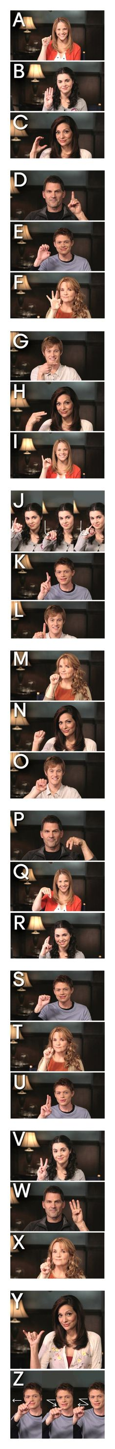 American Sign Language alphabet from the Switched at Birth cast - these people are so adorable I can't.