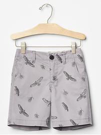 Printed flat front shorts