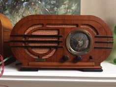 1936 Silver Rare Wood OVAL STREAMLINED Vacuum Tube Radio - Incredibly Art Deco! | eBay