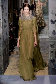 Valentino Haute Couture Spring 2014 1st September 2014. Autumn arrives with a damp drizzly and dank day. What could be more perfect than moss green silk with a silver clouded neckline of sparkling gems.