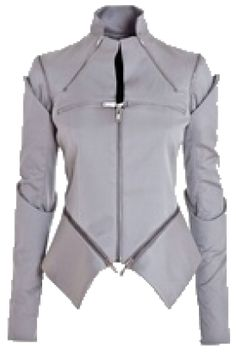 Light grey cotton and silk stretch armour jacket from Gareth Pugh, featuring a stand collar with two diagonal zips, two horizontal zips on the chest, shoulder … Cyberpunk Mode, Cyberpunk Fashion, Gareth Pugh, Alternative Mode, Future Fashion, Blazer, Mode Style, Fashion Outfits, Womens Fashion