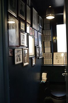Combining dark colours and pictures...notice how the glass in the frames allow the light to disperse throughout the loo.