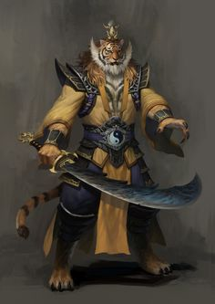 Tiger warrior, inspiration for the tiger people from my #fantasy series Nine Tails ArtStation - Monster, Rui Jin