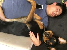 My husband and the dog, cuddling. She is almost two years old! She is a Rottweiler German Shepherd mix we love so much!