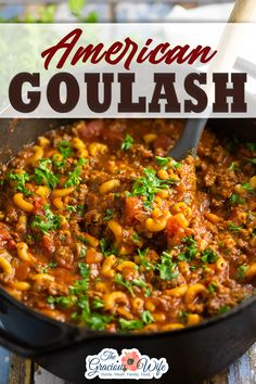 American Goulash is made with simple ingredients, all in one pot! Easy, home-style comfort food that's perfect for family dinner. American goulash is warm, comforting, and so easy to make. It combines the simple flavors of ground beef and noodles in a tangy tomato sauce, all in one pot. This cooking method infuses the noodles with extra flavor! | The Gracious Wife @thegraciouswife #americangoulash #goulashrecipes #americanchopsuey #dinnerideas #easyfamilydinner #dinnerrecipes… Slow Cooker Meatloaf, Slow Cooker Beef, Southern Recipes, Southern Food, American Goulash, How To Cook Meatloaf, Goulash Recipes, Cooked Carrots, Ground Beef Recipes Easy