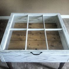 """Hand made window coffee table. Colors are custom. Dimensions are 32""""W x 31""""D x 22""""H. The coffee table opens for storage or display. on Etsy, $325.00"""