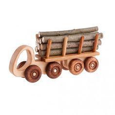 Handmade Wood Toy Log Truck Wooden Toys Eco Friendly Green Childs Boys Kids Childrens Birthday Gift Present