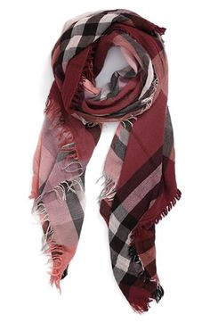 Nordstrom Plaid Wool Blend Scarf available at #Nordstrom Love the color!