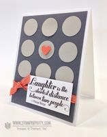 """A Stampin' Up! 1"""" Circle Punch helped me create a bold pattern that was inspired by this fashion magazine cover. A single Calypso Coral heart and coordinating Ruffled Ribbon are the perfect contrast for the neutral background.   Stamp Set:  Feel Goods Paper:  Basic Gray, Sahara Sand, Calypso Coral, Whisper White Ink:  Basic Gray  Cool Tools:  1"""" Circle Punch, Small Heart Punch The Perfect Touch:  Calypso Coral 3/8"""" Ruffled Ribbon"""