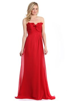 Strapless bridesmaids dress with Lace up back. all the bridesmaids would be grey but the maid of honor will wear red