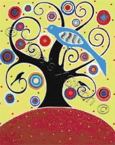 Birds in swirl tree modern cross stitch | Yiotas XStitch