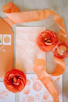 Orange crush wedding invitations   Sweet Root Village