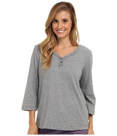 Karen Neuburger Karen Neuburger  Quartet knCool Sleeve Henley Top SolidSoft Charcoal Womens Pajama for 20.99 at Im in!