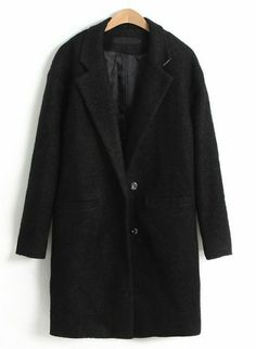 Black Notch Lapel Long Sleeve Trench Coat pictures