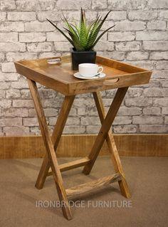 Solid Natural Mango Wood Tray Table Collapsible Mantis Range   Etsy