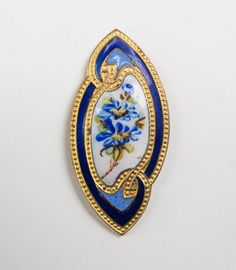 Enamel Vintage Blue and Gold tone Button