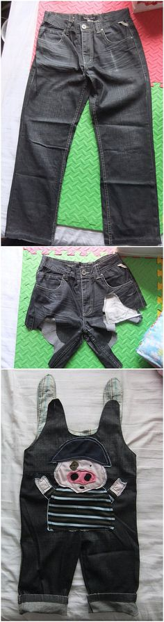 @Keely Blanch - remember doing this when K and C were babies?! change old jeans into baby's overalls