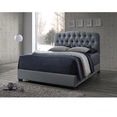 Cayce Transitional Grey Fabric Upholstered Button Tufted Bed - Overstock Shopping - Great Deals on Baxton Studio Beds