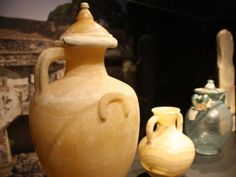 Glass urns from ancient Pompeii