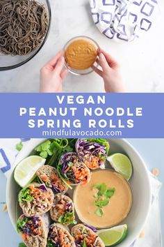Noodle Vegetable Spring Rolls + VIDEO Vegetable packed peanut noodle spring rolls -- Soba noodles covered in a peanut sauce wrapped up with veggies in a spring roll! They are the perfect healthy vegan lunch to take to work! Vegan Lunch Recipes, Vegan Lunches, Vegetarian Lunch, Vegan Snacks, Healthy Recipes, Recipes Dinner, Vegan Spring Rolls, Vegetarian Spring Rolls, Vegetable Spring Rolls