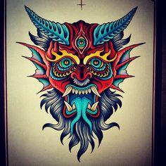 Devil print... #traditionaltattoo #besttradtattoos #tattoostagram #instacool…