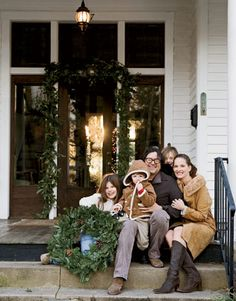 """Billy Reid Family: """"Moving here has been wonderful,"""" explains Billy Reid of the decision to leave New York City and Dallas and to relocate his family and his business to Florence, Ala. """"I've never been so inspired in my life. Christmas Porch, Christmas Minis, Christmas Photo Cards, Christmas Decor, Merry Christmas, Family Christmas Pictures, Christmas Photos, Family Photos, Family Portraits"""