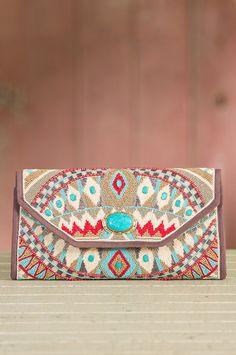 Turquoise Power Mary Frances Designer Clutch Handbag » Gorgeous!